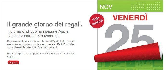 Apple e il grande giorno dei regali è il 25 novembre
