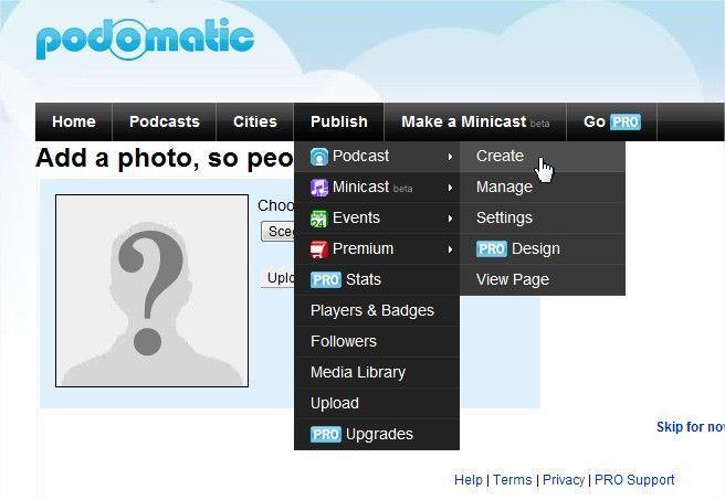 podcast su iTunes - come usare podomatic - aggiungere una foto