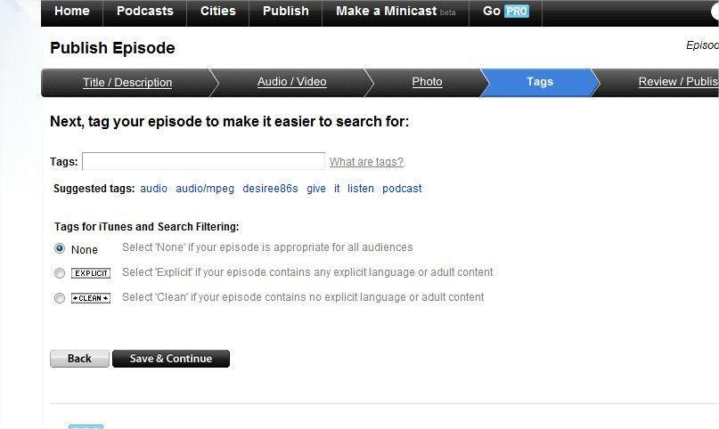 podcast su iTunes - come usare podomatic - pubblicare un episodio 2