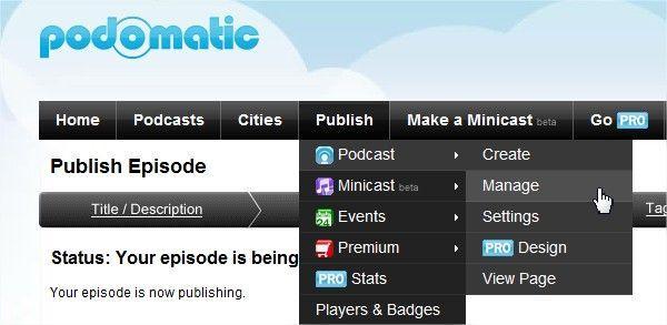 podcast su iTunes - come usare podomatic - gestione del podcast creato