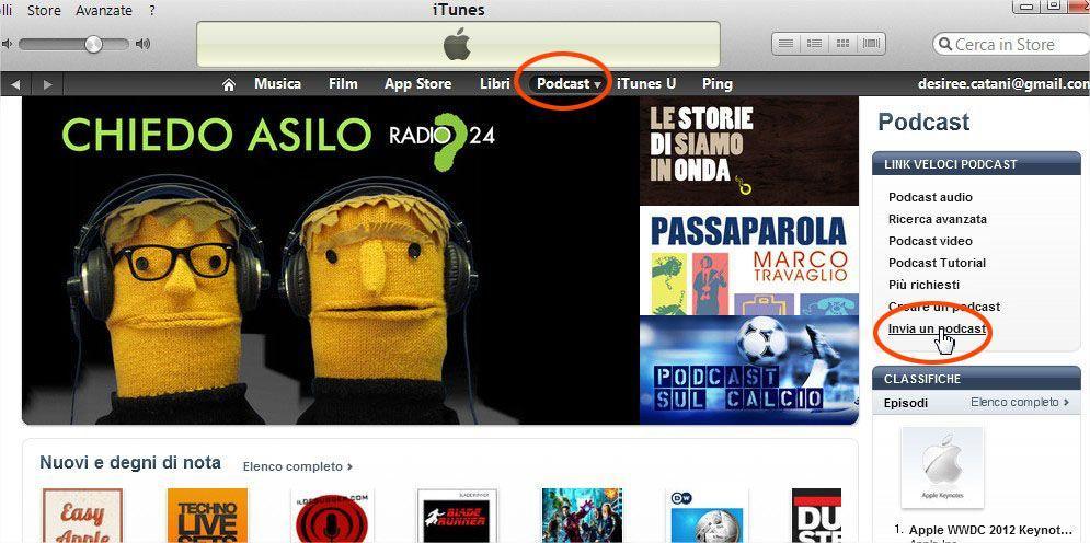 podcast su iTunes - come usare podomatic - pubblicare un podcast su itunes