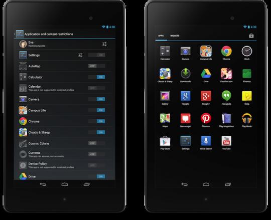 Android 4.3 profili ristretti