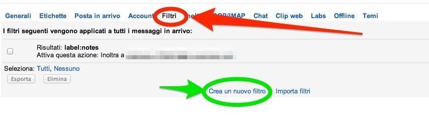 filtro Gmail a Evernote