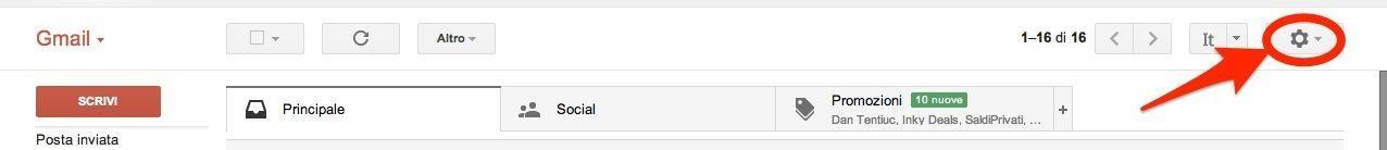 Impostazioni Gmail a Evernote