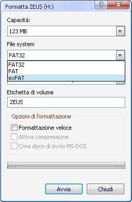 formattazione exFAT su Win Vista/7