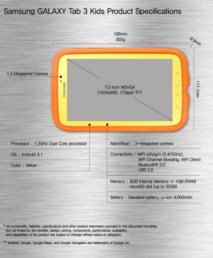 Samsung Galaxy Tab 3 Kids caratteristiche