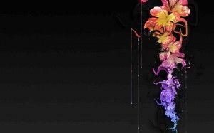 wallpaper nero fiori