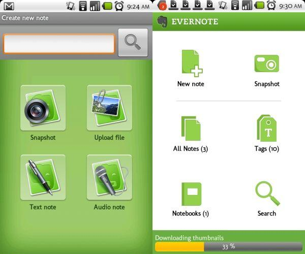 Applicazioni Android gratis per tablet Evernote