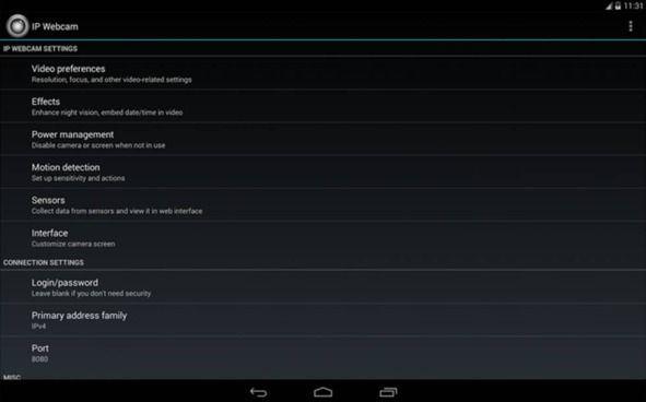Smartphone Android come webcam IP Webcam