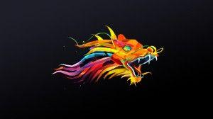 wallpaper dragon poligon