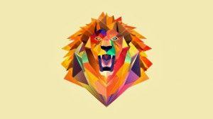 wallpaper lion poligon
