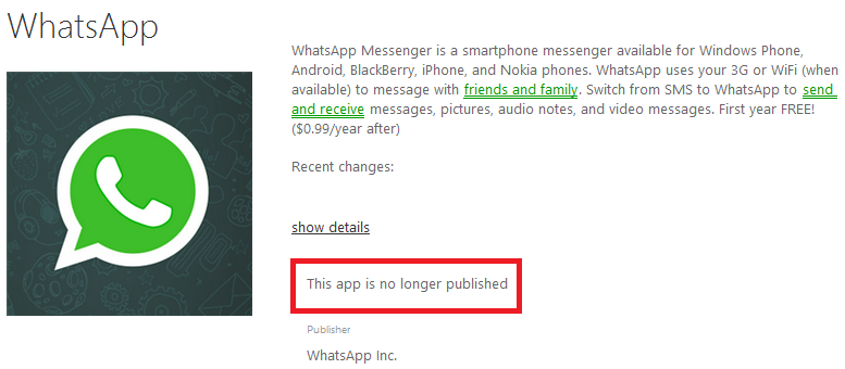 whatsapp non disponbile windows phone store