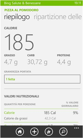 Bing Salute e Benessere - sport e salute su Windows Phone
