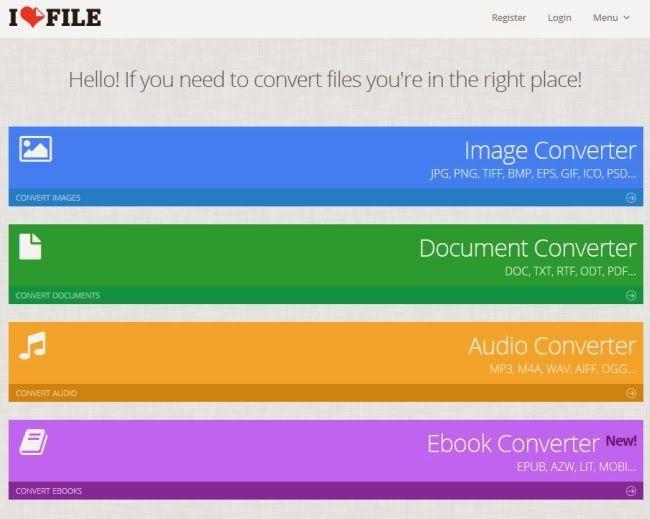 ILoveFile come convertire file online