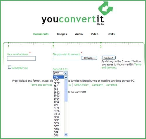 YouConvertIt come convertire file online