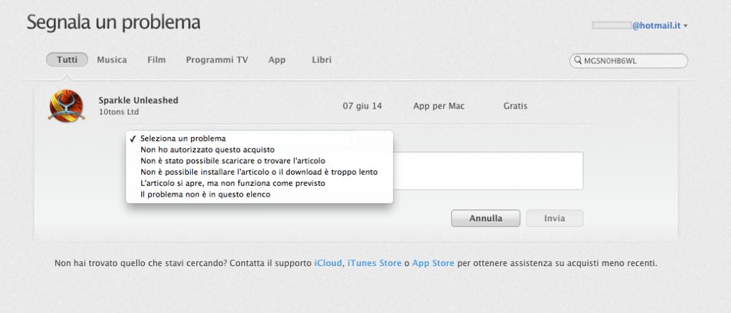 chiedere il rimborso su App Store