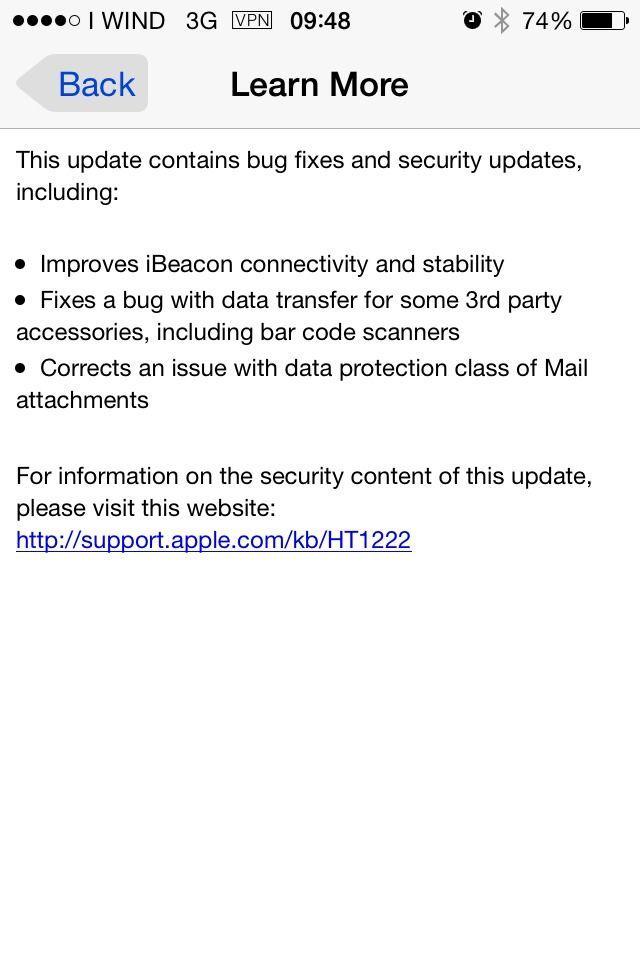 iOS 7.1.2 changelog