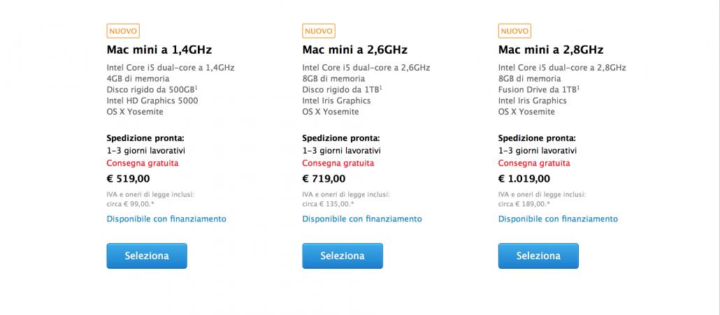 prezzi nuovi mac mini