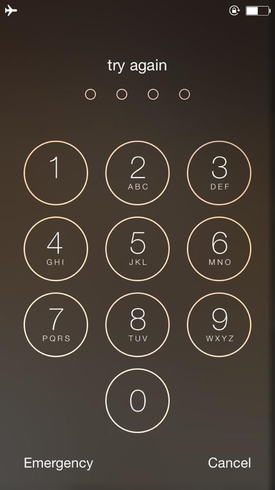 iphone passcode dimenticato - esempio di schermata passcode di iphone (codice di sblocco iphone)
