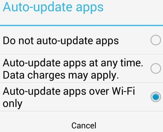 Auto-update apps over wi-fi only