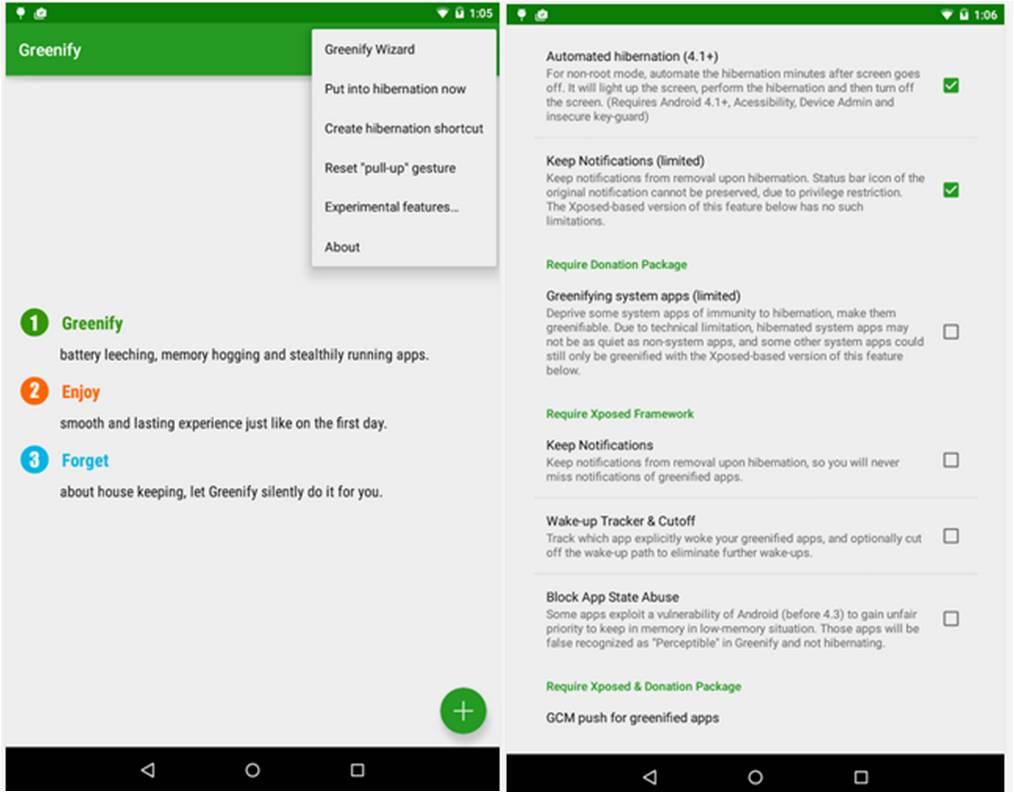 Come ibernare applicazioni Android con Greenify