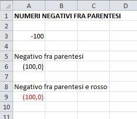 numeri negativi fra parentesi ed in rosso su excel