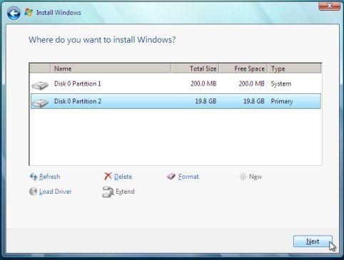 schermata installazione Windows 7 da chiavetta USB