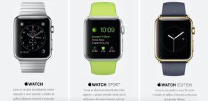Versioni di Apple Watch disponibili