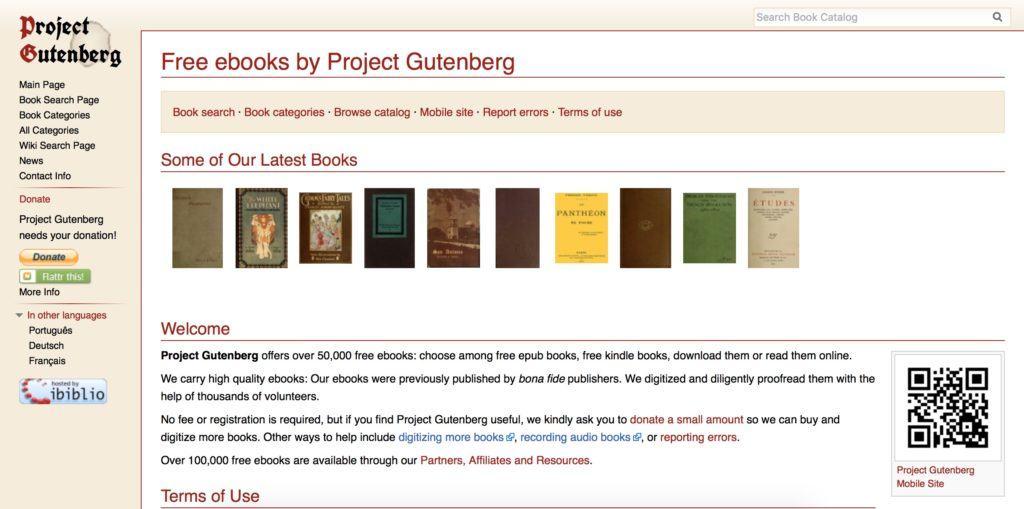 Project Gutenberg vuole rendere omaggio all'inventore della stampa rendendo disponibili gratuitamente migliaia di libri in formato ebook e epub.