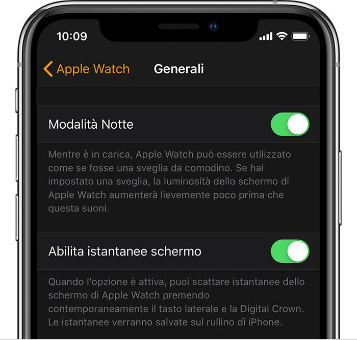abilita istantanee schermo su iphone per apple watch