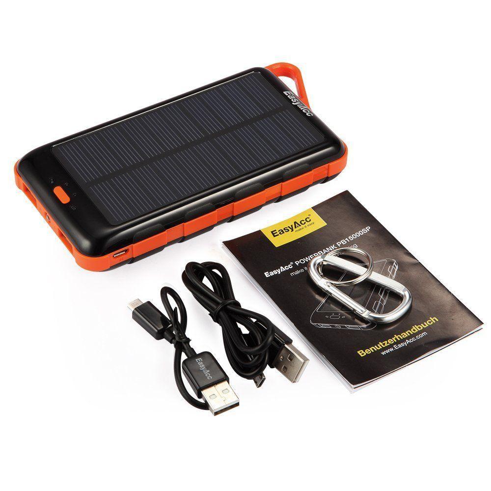 EasyAcc 15000mAh Solar Power Bank  contenuto