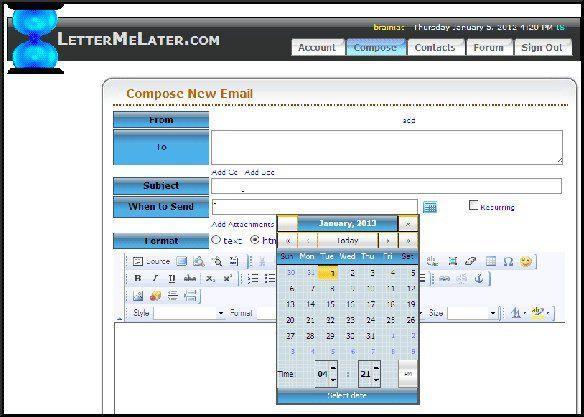 Programmare invio di e-mail con LetterMeLater
