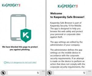 Kaspersky Safe Browser i migliori browser per Windows Phone
