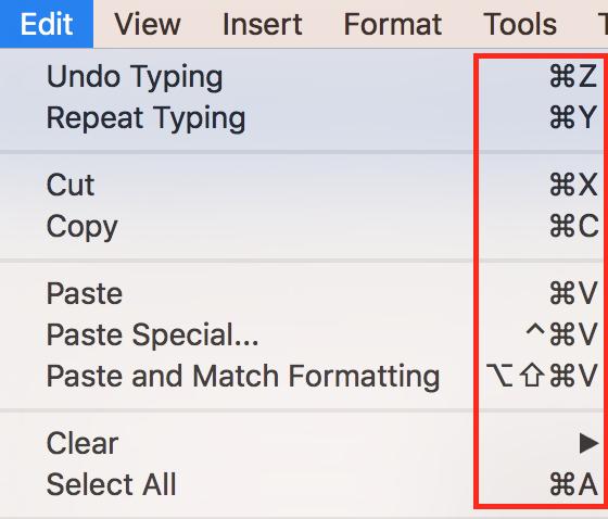 """La schermata """"Edit"""" di Photoshop con le scorciatoie da tastiera"""
