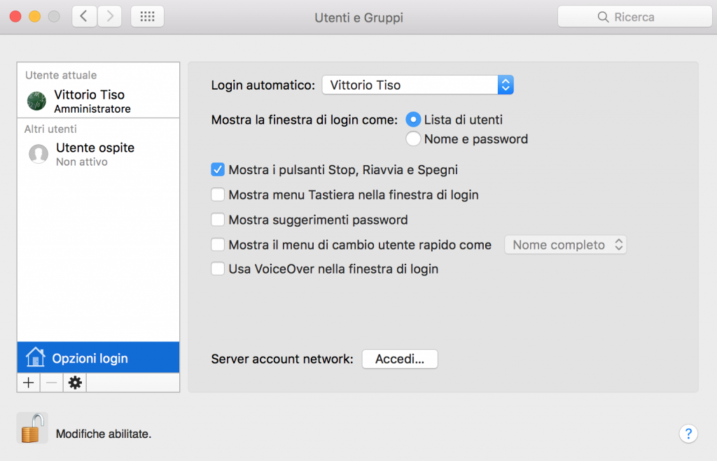 Come abilitare il login automatico su OS X El Capitan passaggio 3