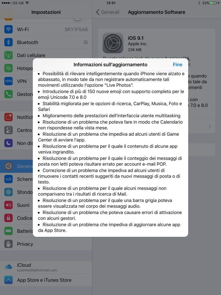 iOS 9.1 changelog ita