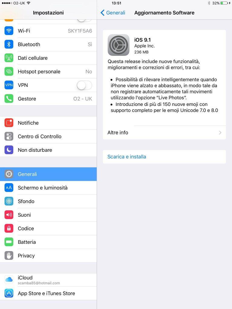 iOS 9.1 install
