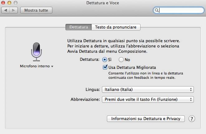 Come dettare testi al Mac mediante un comando vocale