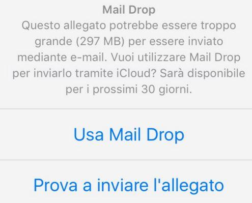 Mail Drop su iOS 9.2