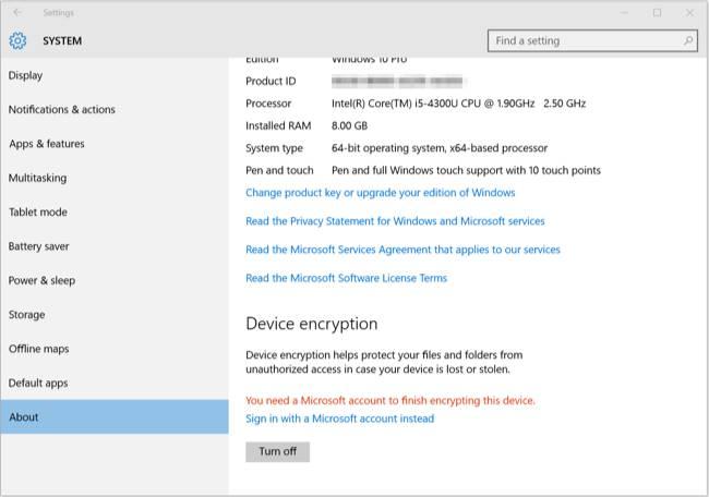 Device Ecryption come criptare contenuti Windows 10 Mobile