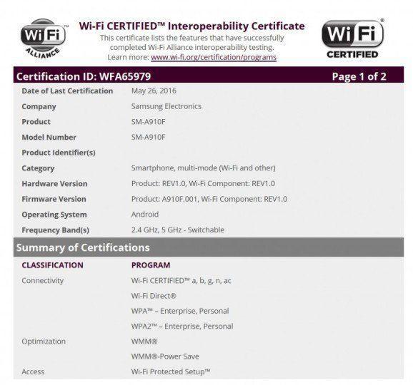 Samsung Galaxy A9 Pro ottiene la certificazione WiFi