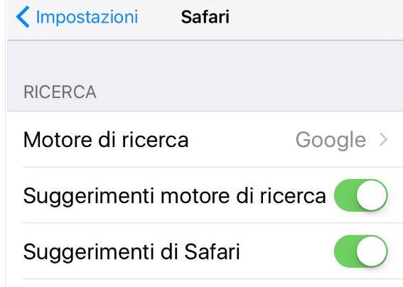 Come disabilitare i suggerimenti di Safari su iOS