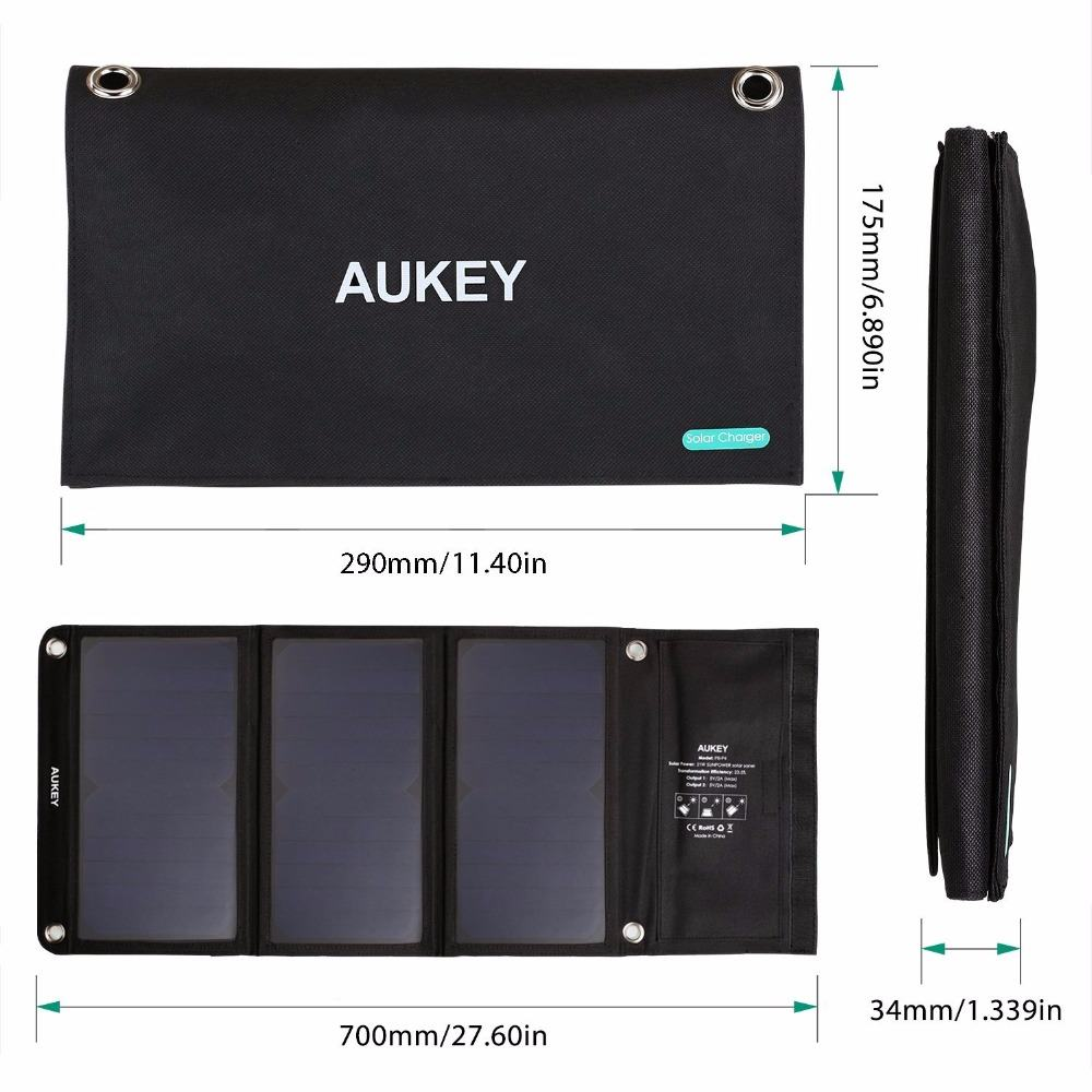 AUKEY-21W-Portable-Solar-Panel-with-Dual-USB-Port-AiPower-Adaptive-Charging-Technology-for-iPhone-6S