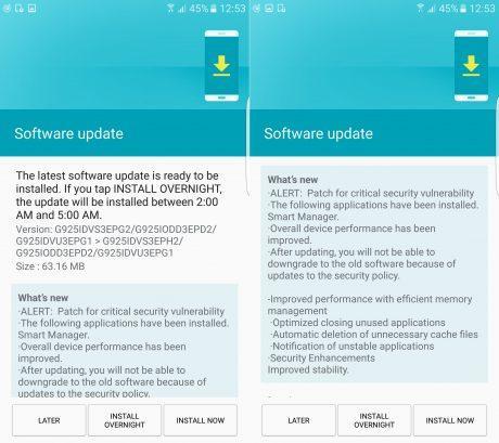 Aggiornamento patch sicurezza di agosto Galaxy S6