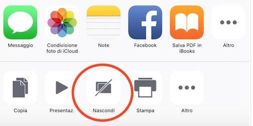 come nascondere foto su iOS 9 Nascondi