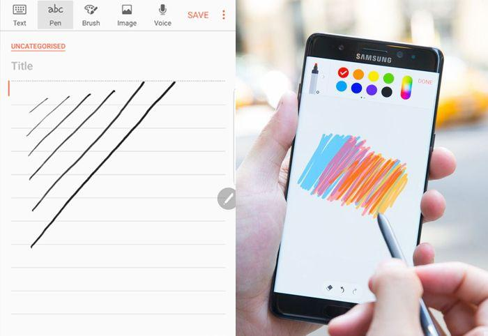 La creazione di note mediante il pennino s-pen è sicuramente la funzionalità più conosciuta di Note 7