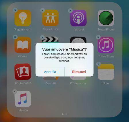 Come rimuovere le app di sistema su iOS 10 Musica