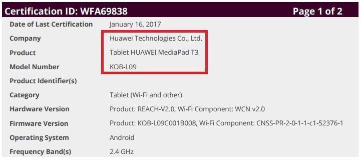 Huawei MediaPad T3:
