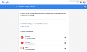 cancellare account google e gmail - step 3