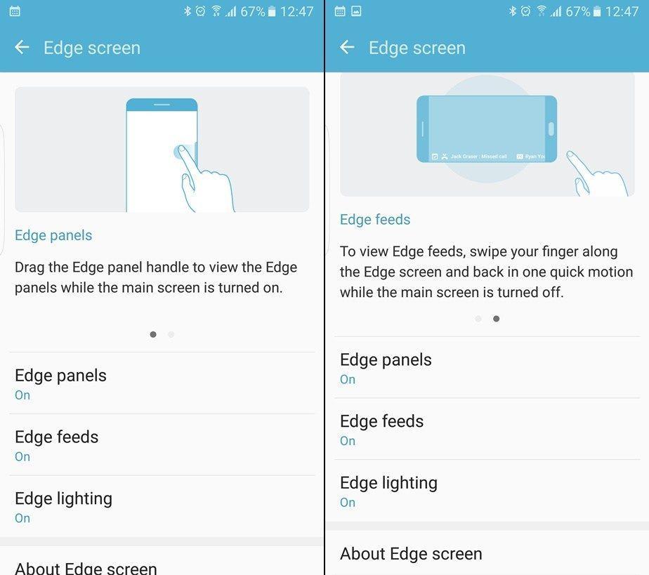 Come attivare o disattivare le funzioni Edge su Galaxy S7 Edge.